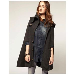 G-STAR Oxford Knit Bell Cape Gray Chunky Poncho